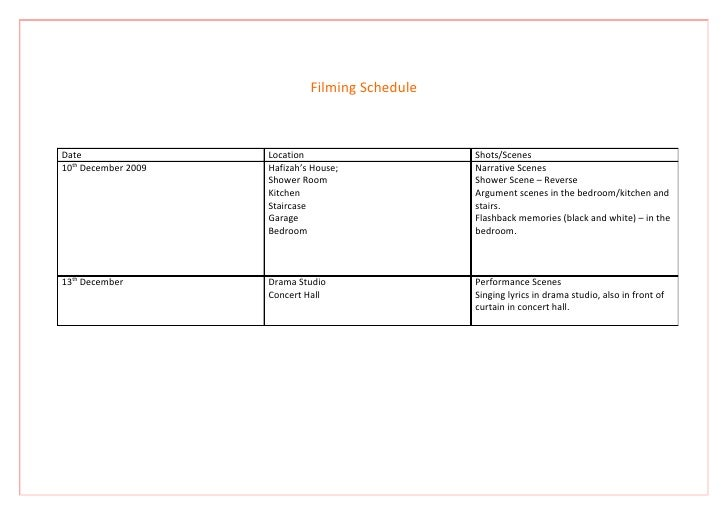 Filming Schedule    Date                 Location                    Shots/Scenes 10th December 2009   Hafizah's House;   ...