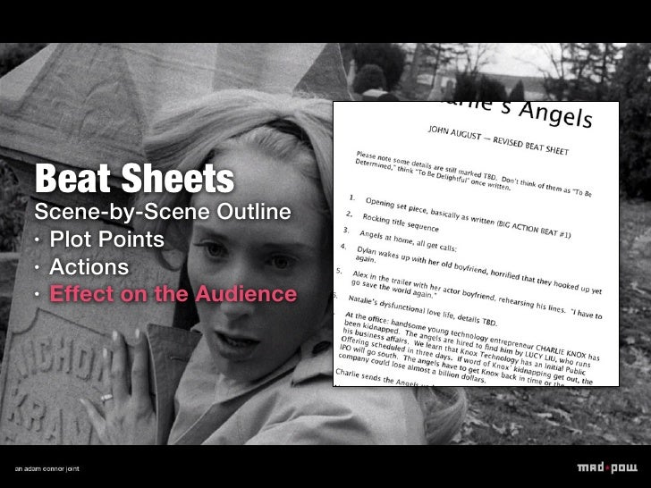 Beat SheetsScene-by-Scene Outline• Plot Points• Actions• Effect on the Audience