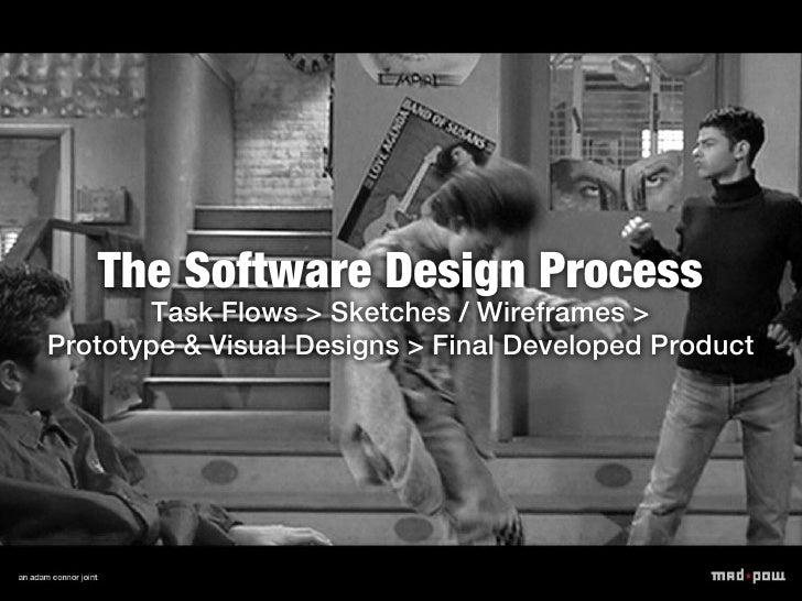 The Software Design Process       Task Flows > Sketches / Wireframes >Prototype & Visual Designs > Final Developed Product