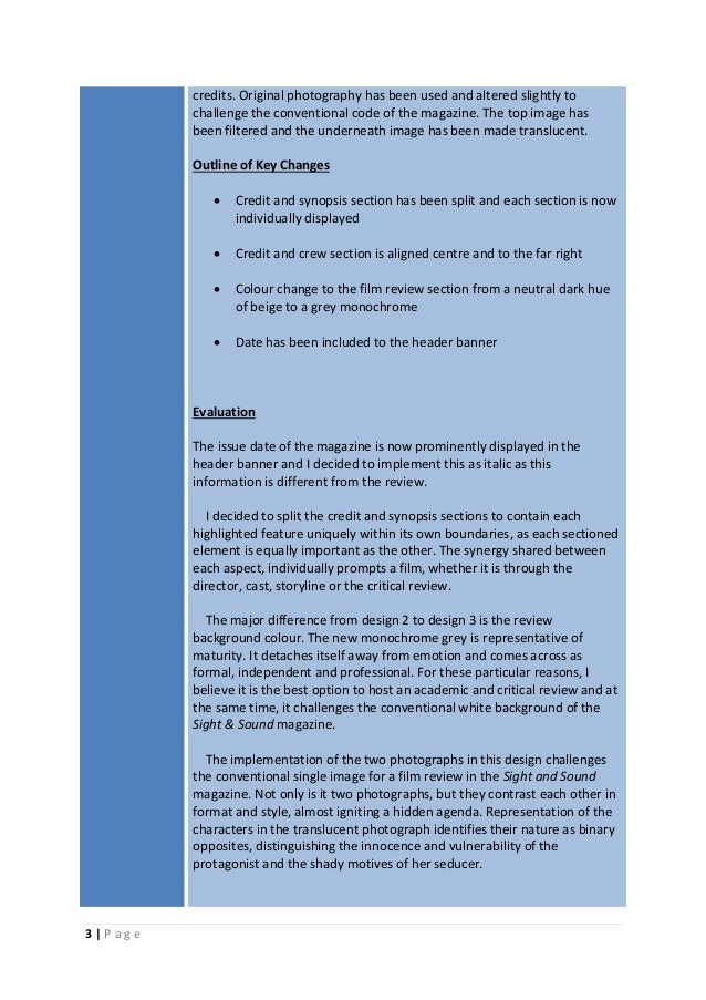 Film magazine review evaluation and outline of key changes and implementations Slide 3
