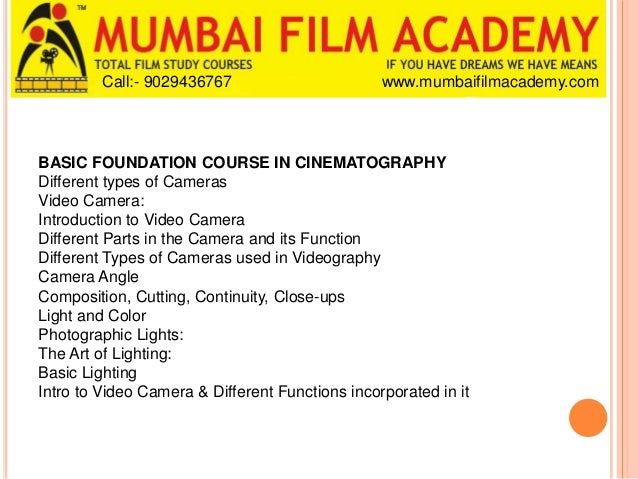 cinematography courses in mumbai