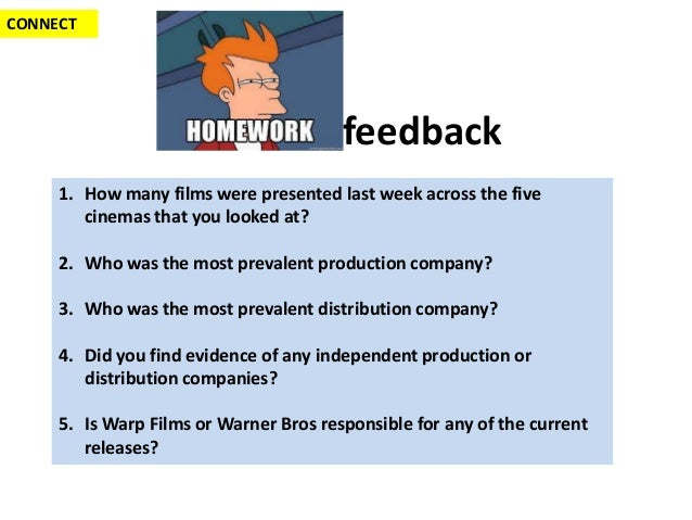 CONNECT                                        feedback     1. How many films were presented last week across the five    ...