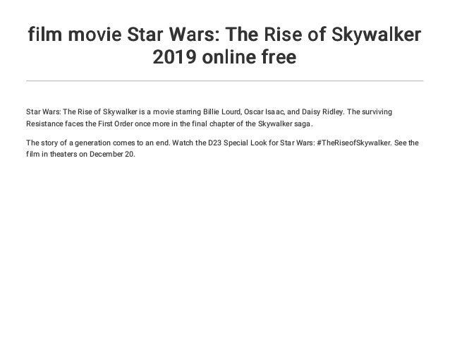 Film Movie Star Wars The Rise Of Skywalker 2019 Online Free