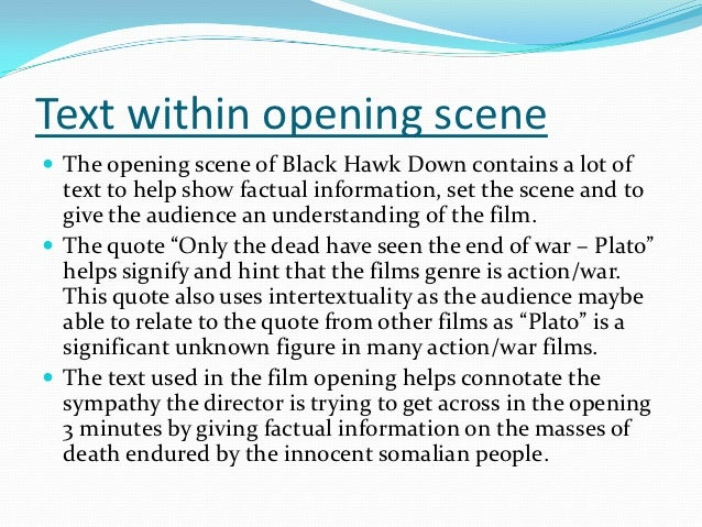 film analysis and commentary black hawk Kingdom of heaven is a 2005 epic film,  most filming took place in ouarzazate in morocco, where scott had filmed gladiator and black hawk down.