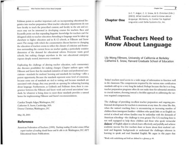 6 What Teacher.; Need to Know About languageFeldman points to another important curb on incorporating educational lin-guis...
