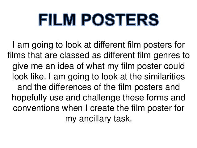 I am going to look at different film posters for films that are classed as different film genres to give me an idea of wha...