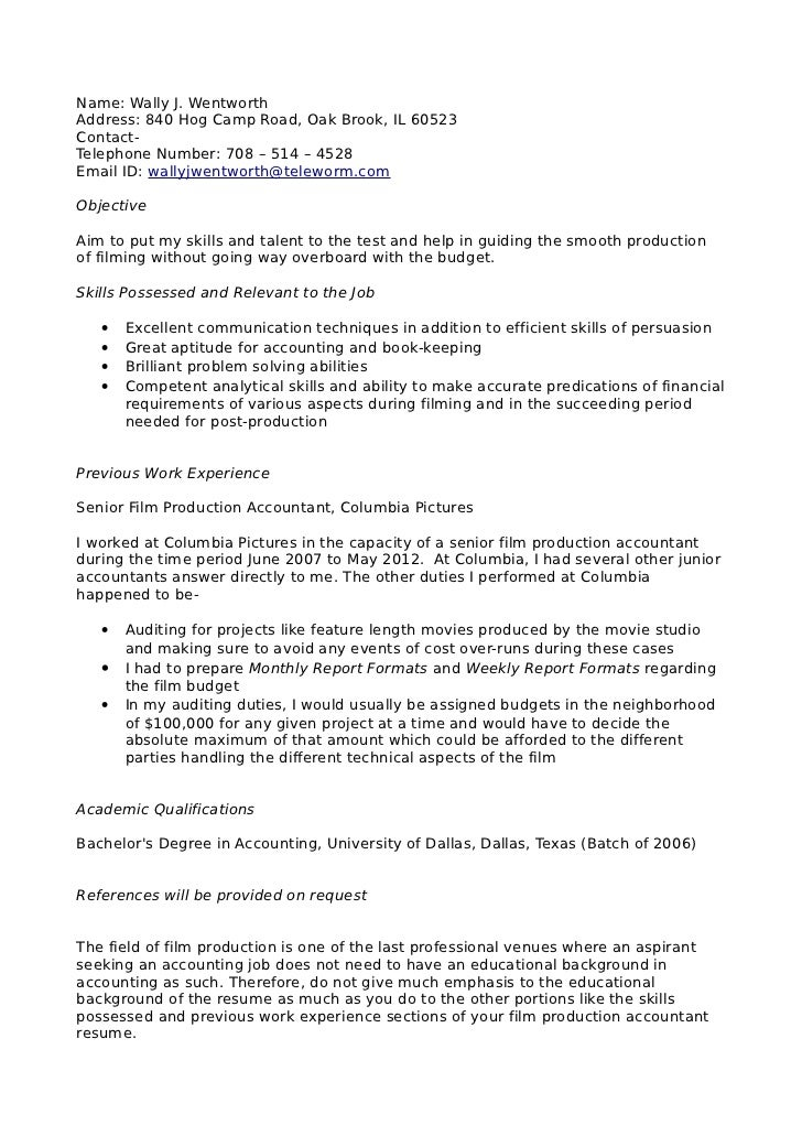 Accountant Sample Resume Format  ApigramCom
