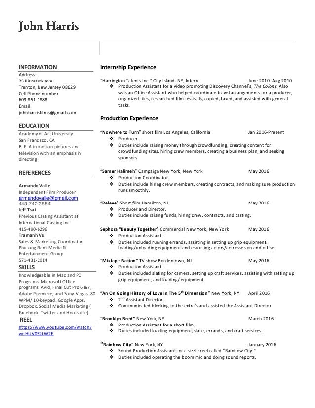 Film production resume 10
