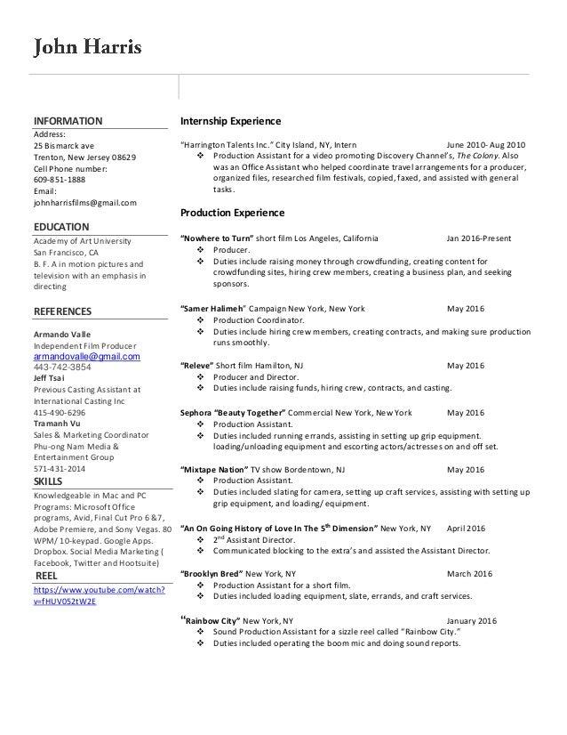 film production resume 10