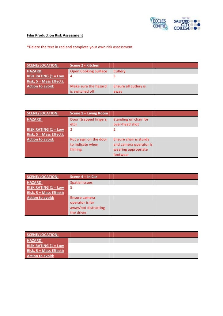 Film Production Risk Assessment*Delete the text in red and complete your own risk assessmentSCENE/LOCATION:           Scen...