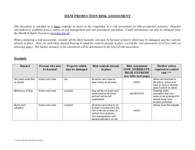 Film production risk assessment form for Risk documentation template