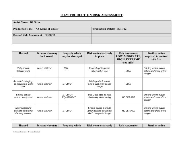 Film production risk assessment form – Risk Management Template Free