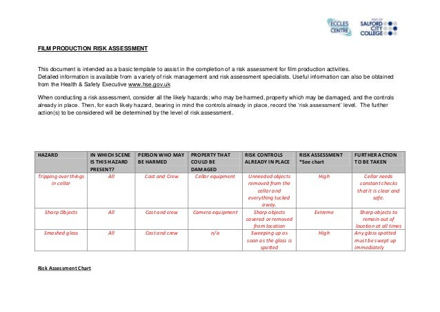 FILM PRODUCTION RISK ASSESSMENT This document is intended as a basic template to assist in the completion of a risk assess...