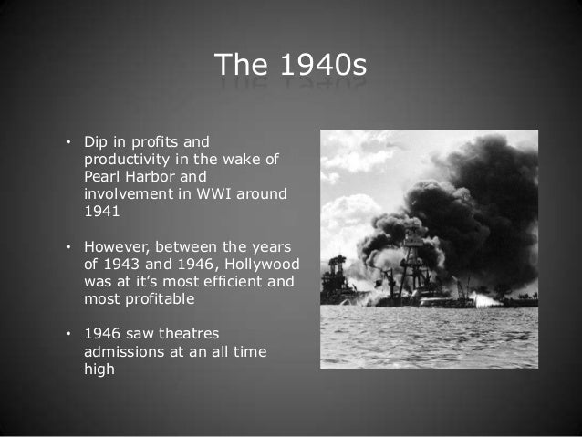 The 1940s• Dip in profits and  productivity in the wake of  Pearl Harbor and  involvement in WWI around  1941• However, be...