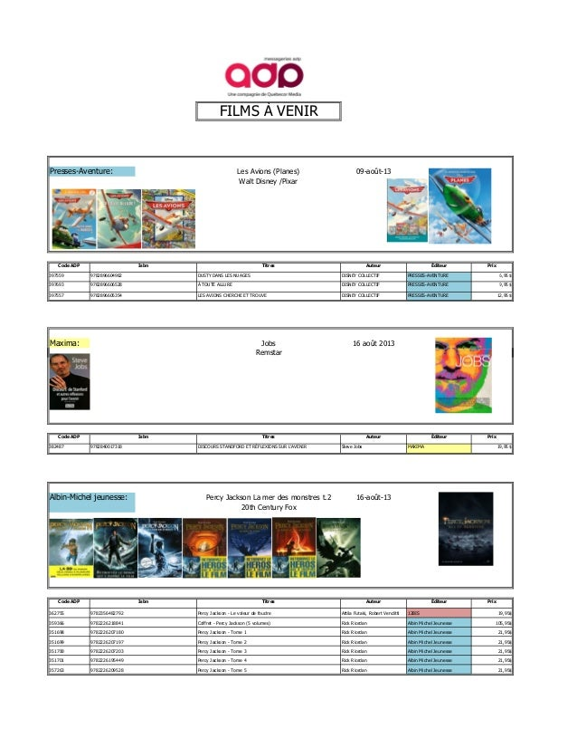 FILMS À VENIR Presses-Aventure: Les Avions (Planes) 09-août-13 Walt Disney /Pixar Code ADP Titres Auteur Éditeur 397559 DU...