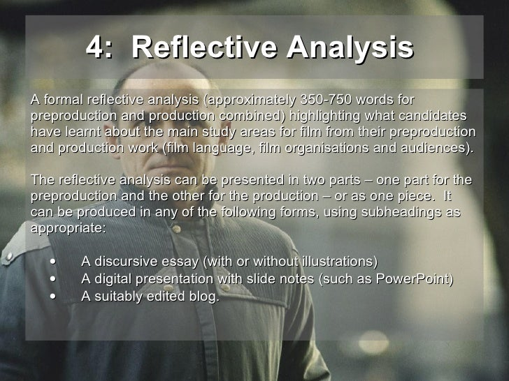 reflective analysis film studies coursework Fm1 as film studies creative project – coursework wjec your task is to create a film sequence and reflective analysis your storyboard should demonstrate how micro aspects of film make meaning.