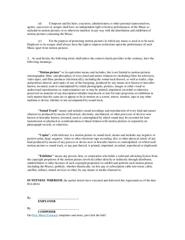 Film synchronization contract – Film Contract Templates