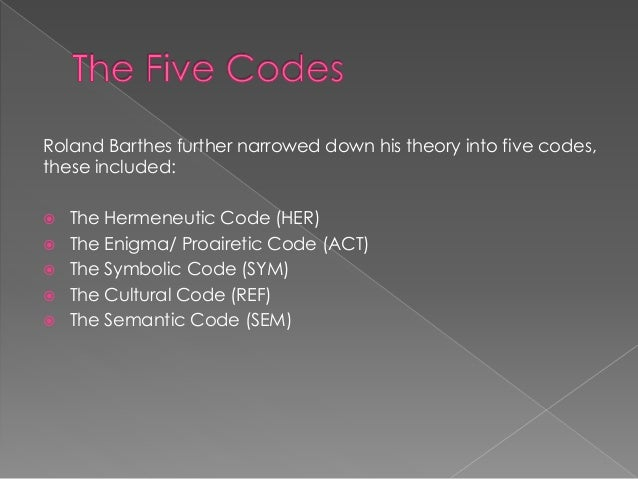 roland barthes and the hermeneutic code Developed by roland barthes in his 1970 essay s/z by attempting to emulate  the  the hermeneutic code, or voice of truth, is primarily responsible for.