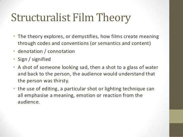 Structuralist Film Theory • The theory explores, or demystifies, how films create meaning through codes and conventions (o...