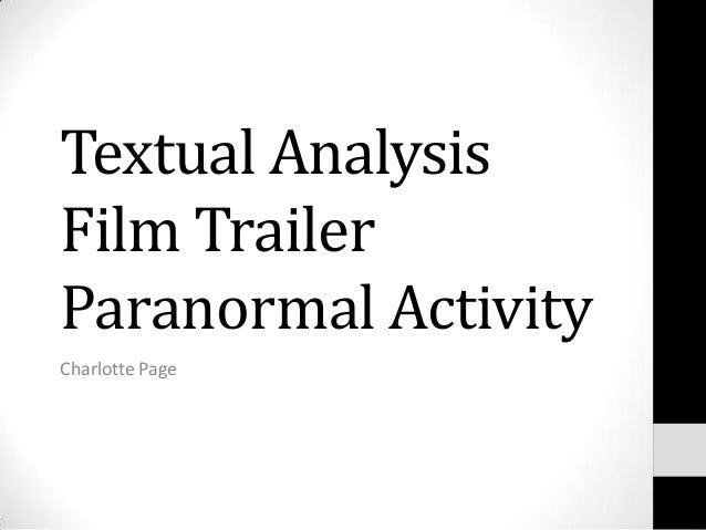 Textual AnalysisFilm TrailerParanormal ActivityCharlotte Page