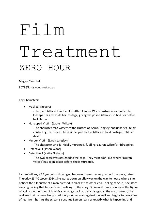 film treatment template film treatment