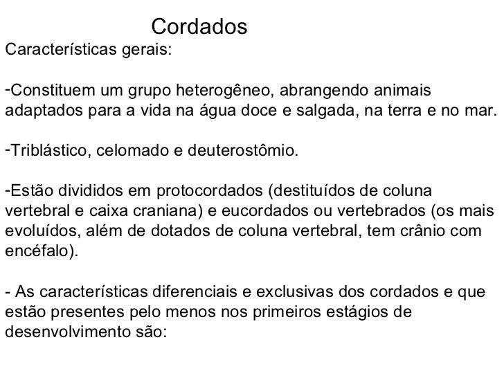 <ul><li>Cordados </li></ul><ul><li>Características gerais: </li></ul><ul><li>Constituem um grupo heterogêneo, abrangendo a...