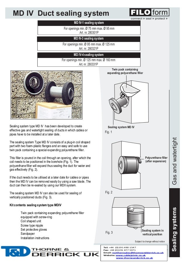 MD IV Duct sealing system MD IV-1 sealing system For openings min. Ø 75 mm max. Ø 95 mm Art. nr. 280301P MD IV-3 sealing s...