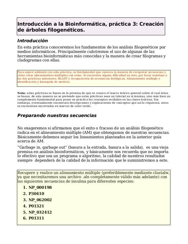 Introducción a la Bioinformática, práctica 3: Creación de árboles filogenéticos. Introducción En esta práctica conoceremos...