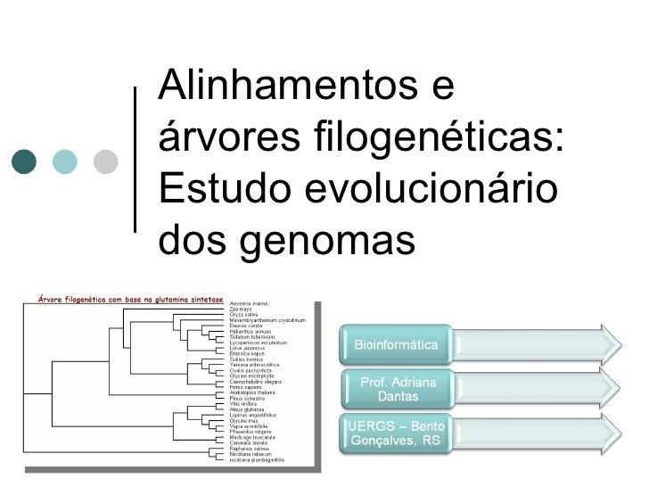 Alinhamentos eárvores filogenéticas:Estudo evolucionáriodos genomas