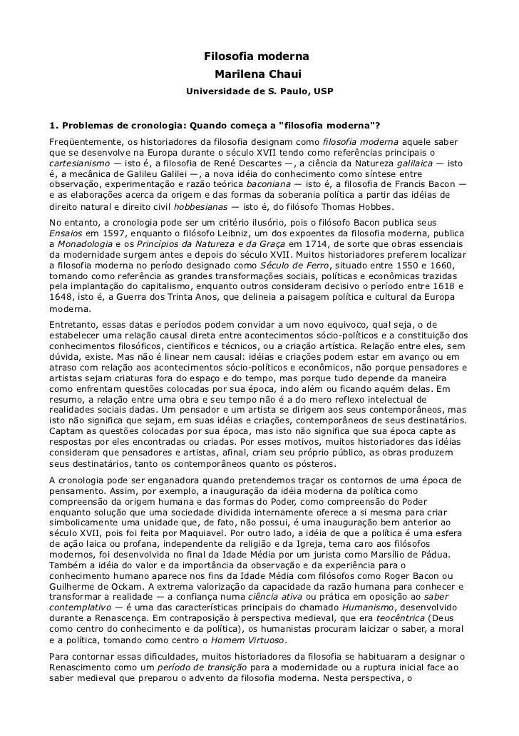 Filosofia moderna                                      Marilena Chaui                               Universidade de S. Pau...