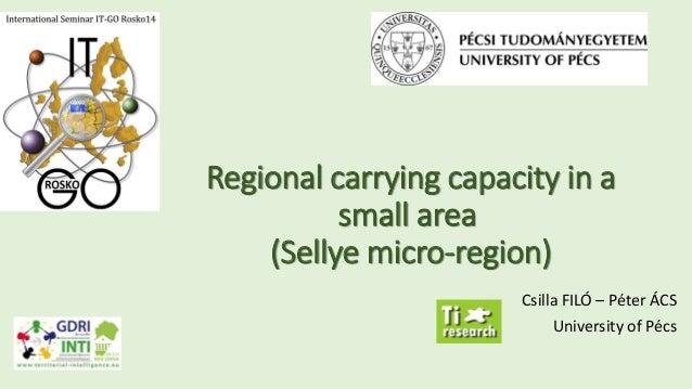 Regional carrying capacity in a small area (Sellye micro-region) Csilla FILÓ – Péter ÁCS University of Pécs