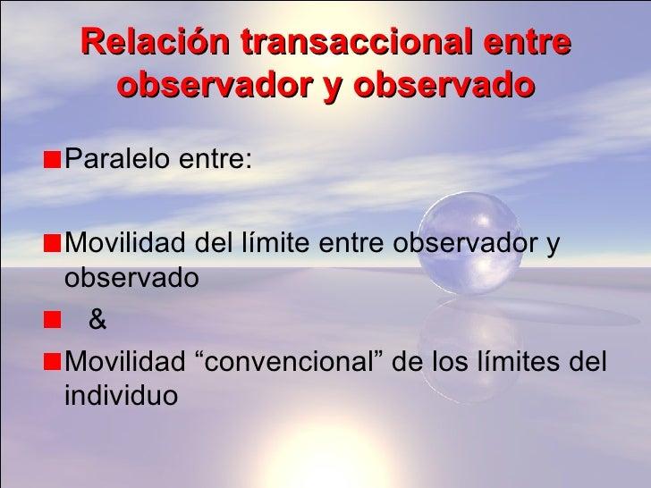 Relación transaccional entre observador y observado <ul><li>Paralelo entre: </li></ul><ul><li>Movilidad del límite entre o...