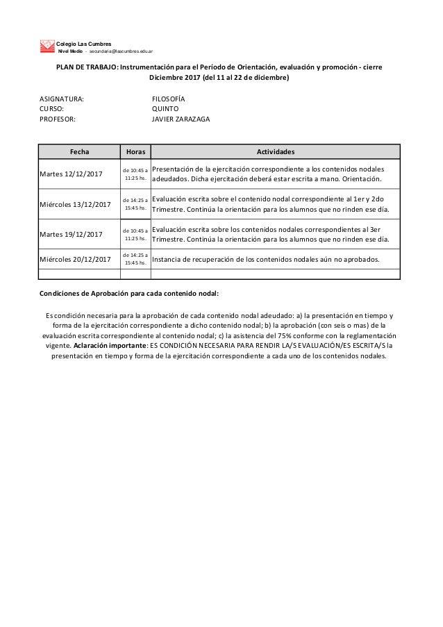 Colegio Las Cumbres Nivel Medio - secundaria@lascumbres.edu.ar ASIGNATURA: FILOSOF�A CURSO: QUINTO PROFESOR: JAVIER ZARAZA...
