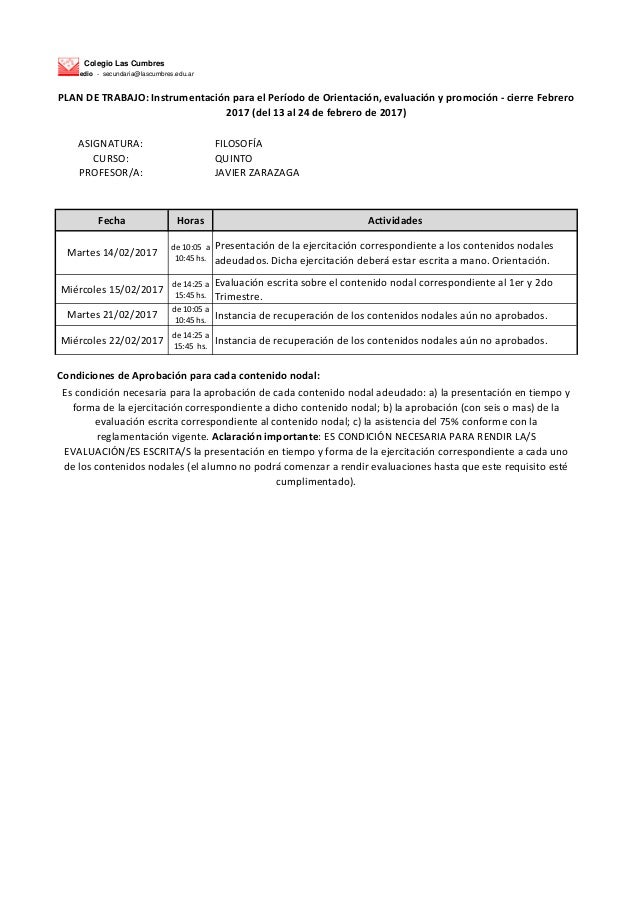 Colegio Las Cumbres Nivel Medio - secundaria@lascumbres.edu.ar ASIGNATURA: FILOSOFÍA CURSO: QUINTO PROFESOR/A: JAVIER ZARA...