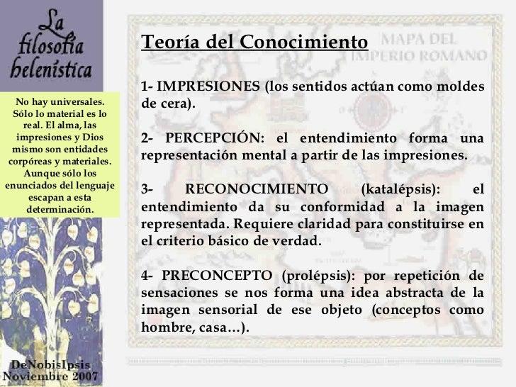 Teoría del Conocimiento 1- IMPRESIONES (los sentidos actúan como moldes de cera).  2- PERCEPCIÓN: el entendimiento forma u...