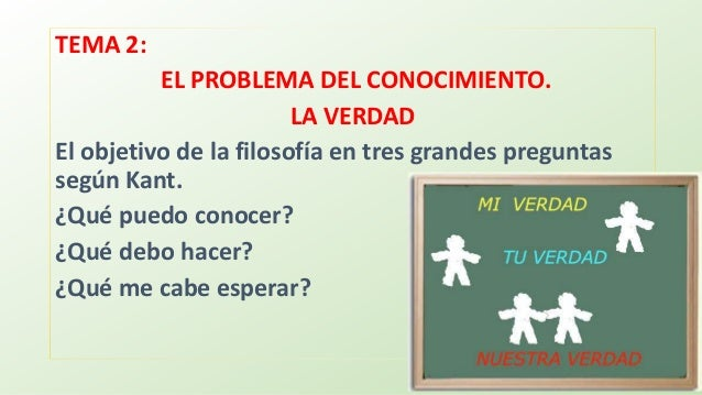 TEMA 2: EL PROBLEMA DEL CONOCIMIENTO. LA VERDAD El objetivo de la filosofía en tres grandes preguntas según Kant. ¿Qué pue...