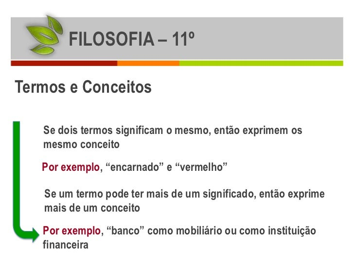 """FILOSOFIA – 11ºTermos e Conceitos   Se dois termos significam o mesmo, então exprimem os   mesmo conceito   Por exemplo, """"..."""