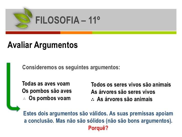 FILOSOFIA – 11ºAvaliar Argumentos   Consideremos os seguintes argumentos:   Todas as aves voam         Todos os seres vivo...