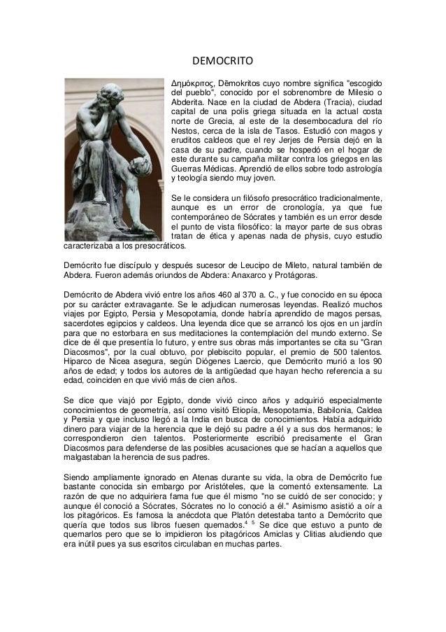 """DEMOCRITO Δημόκριτος, Dēmokritos cuyo nombre significa """"escogido del pueblo"""", conocido por el sobrenombre de Milesio o Abd..."""