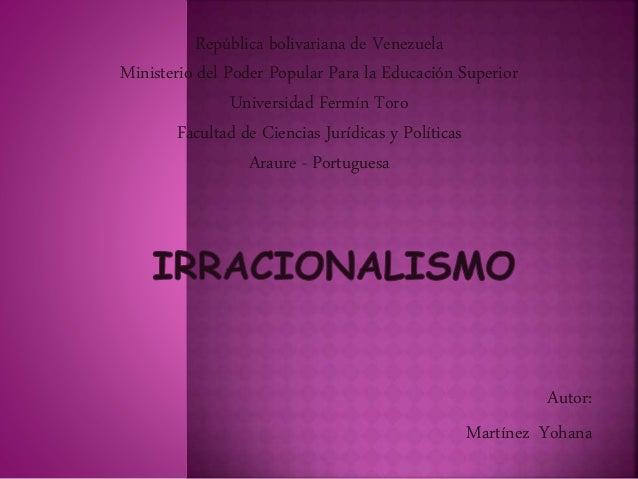 Autor: Martínez Yohana República bolivariana de Venezuela Ministerio del Poder Popular Para la Educación Superior Universi...