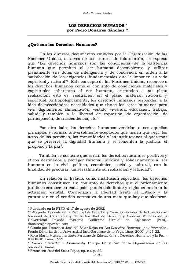 Pedro Donaires Sánchez Revista Telemática de Filosofía del Derecho, nº 5, 2001/2002, pp. 193-199. - 193 - LOS DERECHOS HUM...