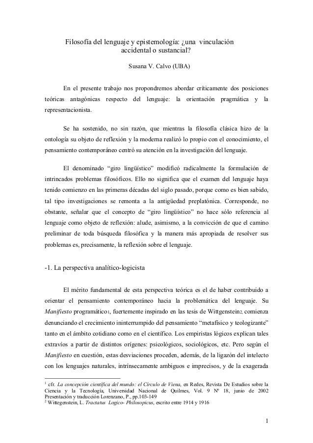 Filosofía del lenguaje y epistemología: ¿una vinculación                            accidental o sustancial?              ...