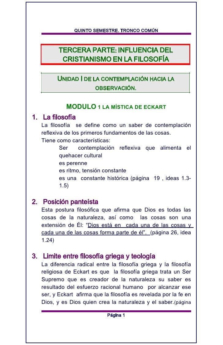 QUINTO SEMESTRE. TRONCO COMÚN          TERCERA PARTE: INFLUENCIA DEL           CRISTIANISMO EN LA FILOSOFÍA         UNIDAD...