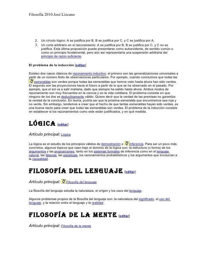 Filosofía 2010.José Lizcano         2.   Un círculo lógico: A se justifica por B, B se justifica por C, y C se justifica p...