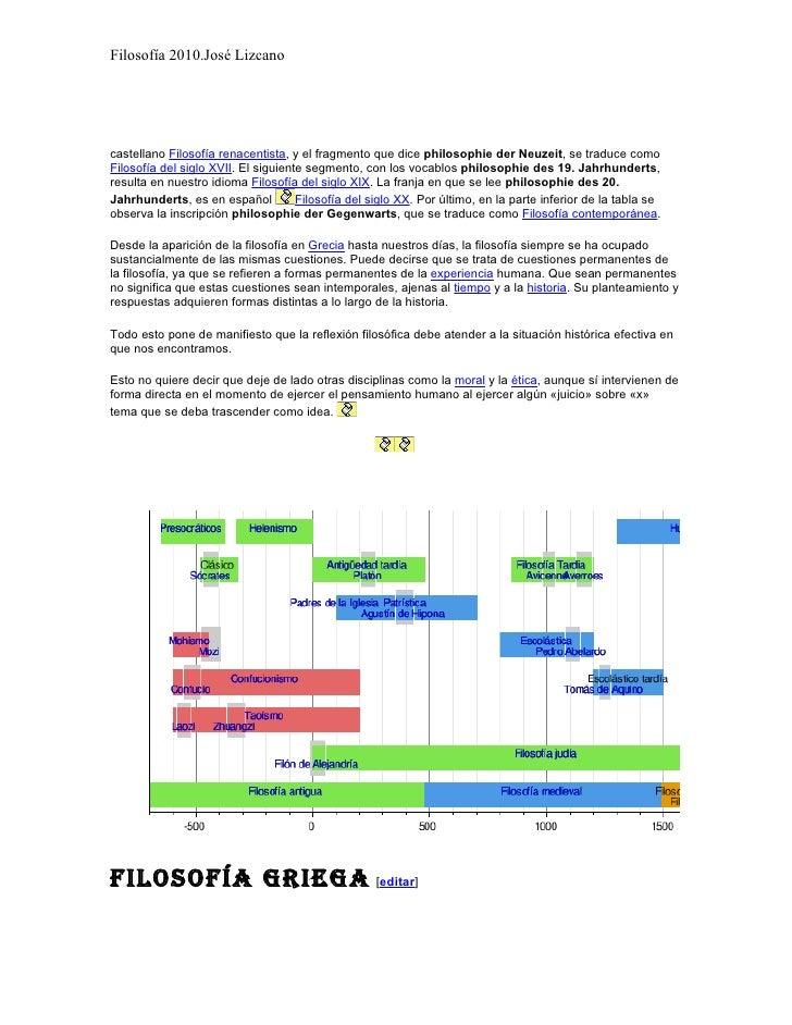 Filosofía 2010.José Lizcano     castellano Filosofía renacentista, y el fragmento que dice philosophie der Neuzeit, se tra...