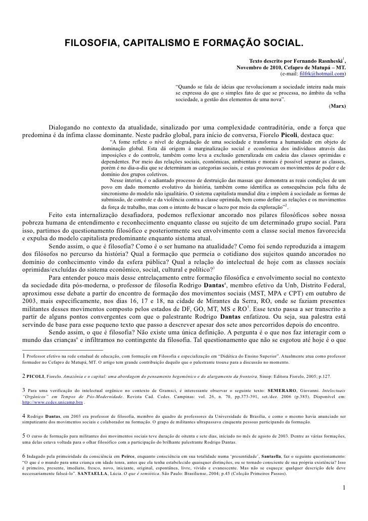 FILOSOFIA, CAPITALISMO E FORMAÇÃO SOCIAL.                                                                                 ...