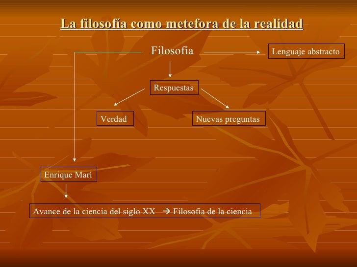 La filosofía como metefora de la realidad Filosofía Lenguaje abstracto Respuestas Nuevas preguntas Verdad Enrique Marí Ava...