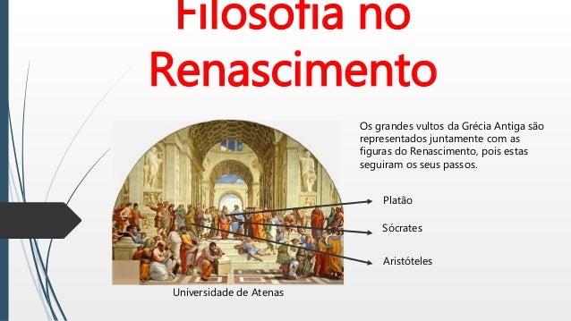 Filosofia no Renascimento Universidade de Atenas Os grandes vultos da Grécia Antiga são representados juntamente com as fi...