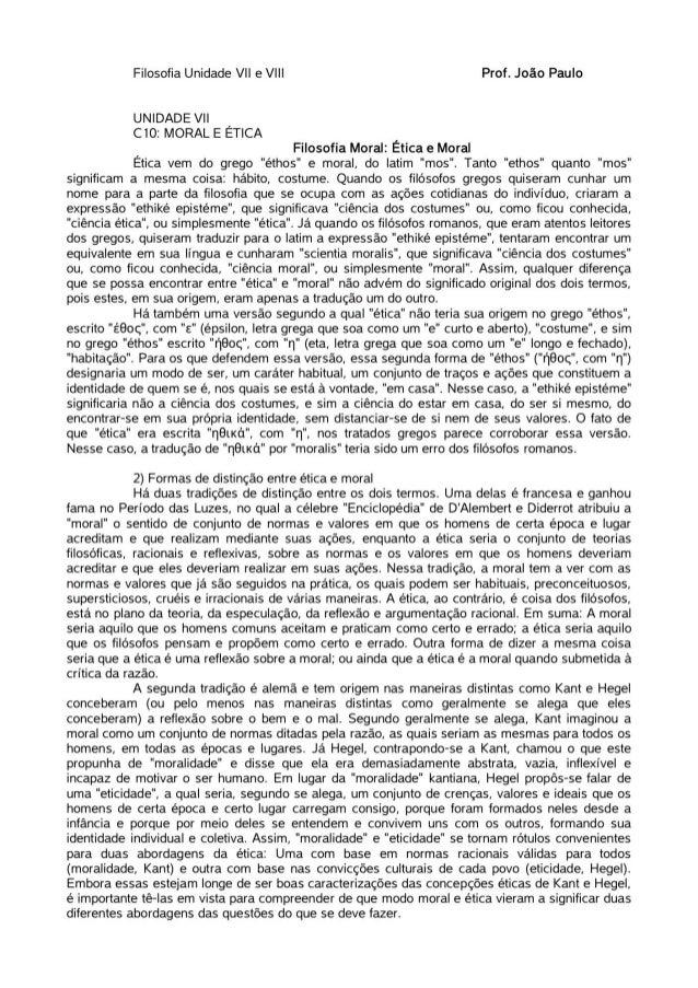 Filosofia. Unidades VII e VIII