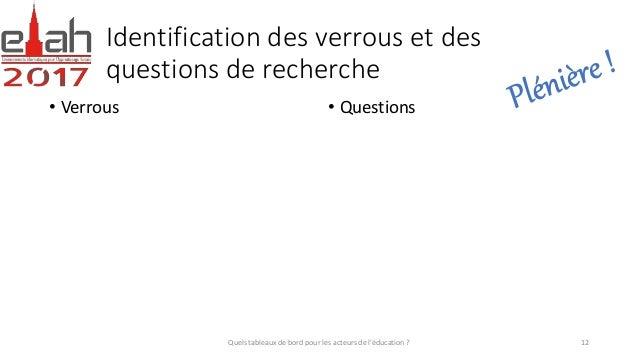 Identification des verrous et des questions de recherche • Verrous • Questions Quels tableaux de bord pour les acteurs de ...